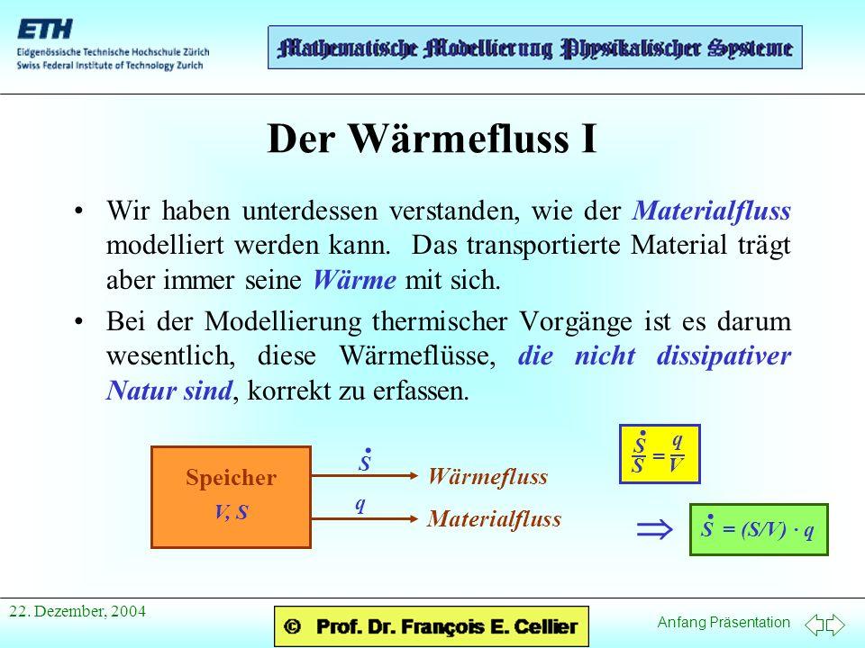 Anfang Präsentation 22. Dezember, 2004 Der Wärmefluss I Wir haben unterdessen verstanden, wie der Materialfluss modelliert werden kann. Das transporti
