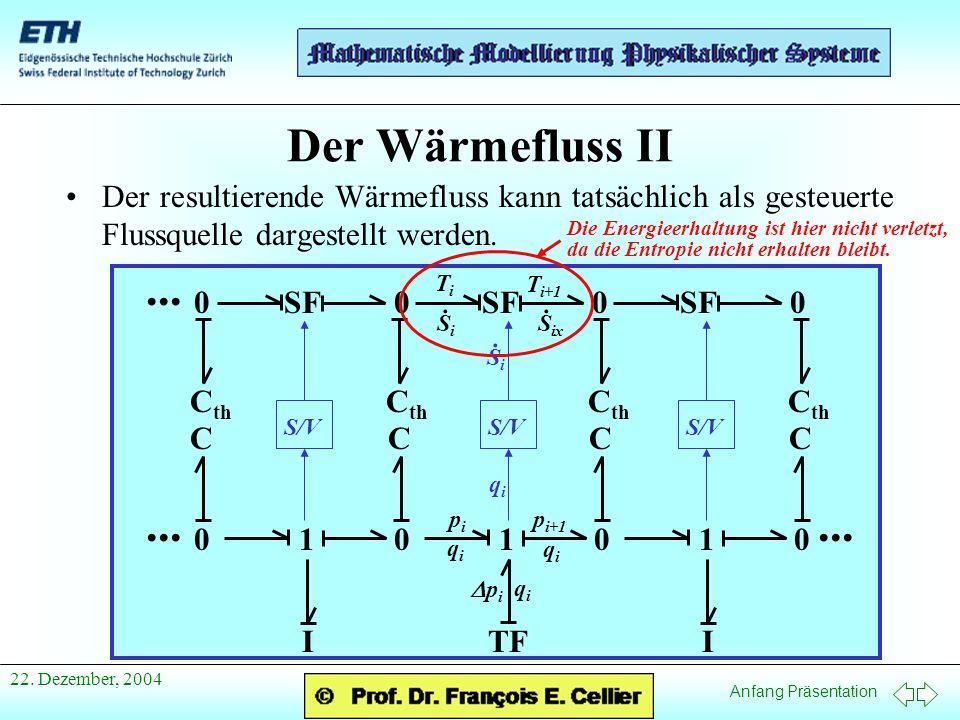 Anfang Präsentation 22. Dezember, 2004 Der Wärmefluss II Der resultierende Wärmefluss kann tatsächlich als gesteuerte Flussquelle dargestellt werden..