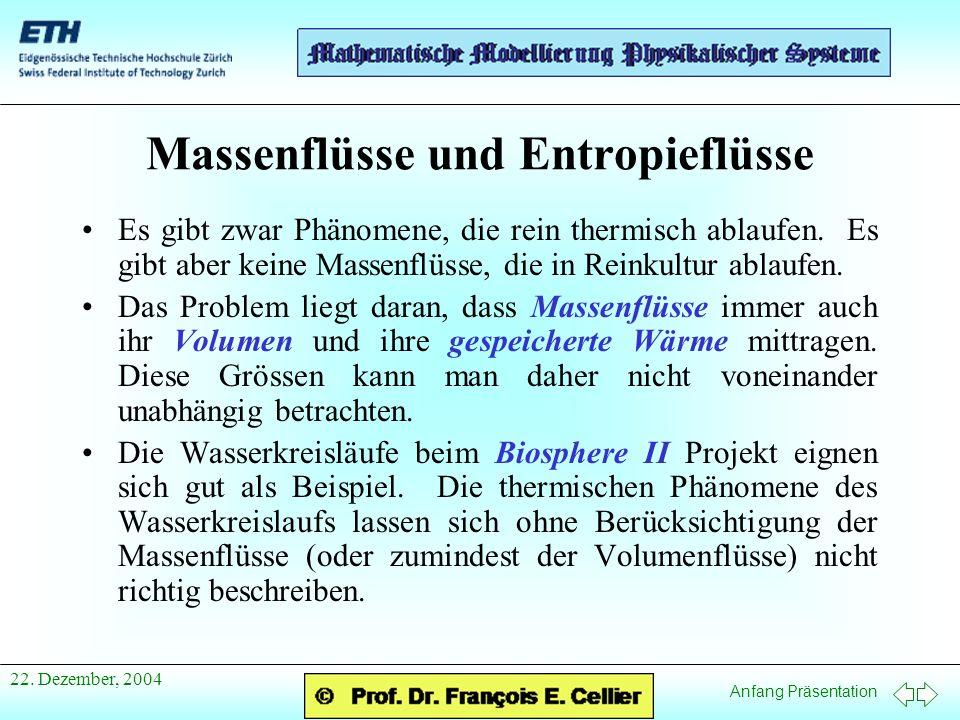 Anfang Präsentation 22. Dezember, 2004 Massenflüsse und Entropieflüsse Es gibt zwar Phänomene, die rein thermisch ablaufen. Es gibt aber keine Massenf