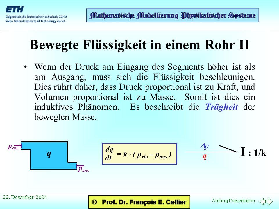 Anfang Präsentation 22. Dezember, 2004 Bewegte Flüssigkeit in einem Rohr II Wenn der Druck am Eingang des Segments höher ist als am Ausgang, muss sich