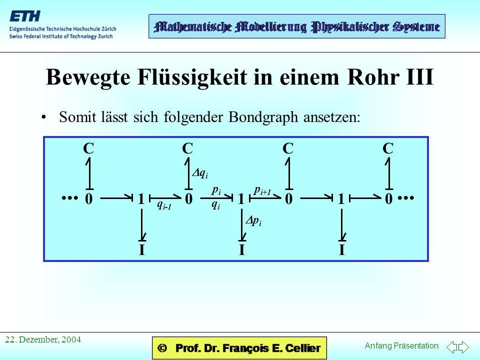 Anfang Präsentation 22. Dezember, 2004 Bewegte Flüssigkeit in einem Rohr III Somit lässt sich folgender Bondgraph ansetzen:... 010101 0 C I CCC II q i