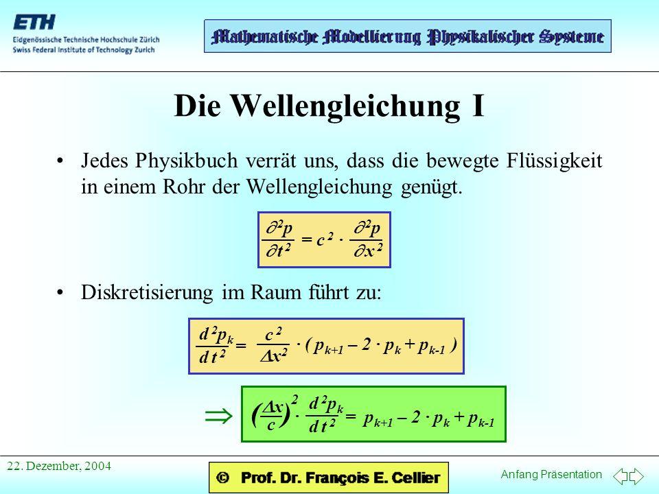 Anfang Präsentation 22. Dezember, 2004 Die Wellengleichung I Jedes Physikbuch verrät uns, dass die bewegte Flüssigkeit in einem Rohr der Wellengleichu