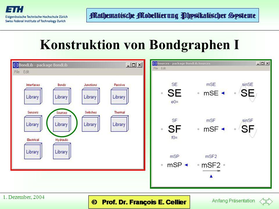 Anfang Präsentation 1. Dezember, 2004 Konstruktion von Bondgraphen I