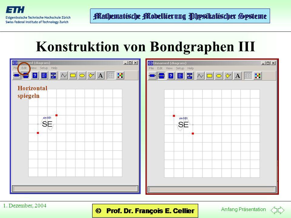 Anfang Präsentation 1. Dezember, 2004 Konstruktion von Bondgraphen III Horizontal spiegeln