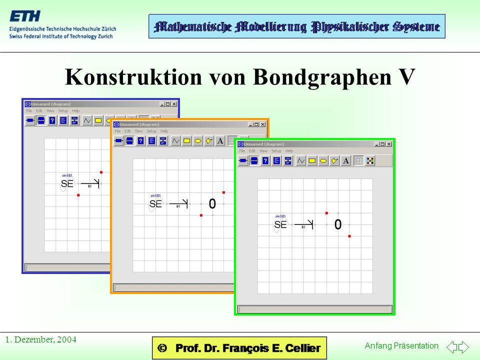 Anfang Präsentation 1. Dezember, 2004 Konstruktion von Bondgraphen V