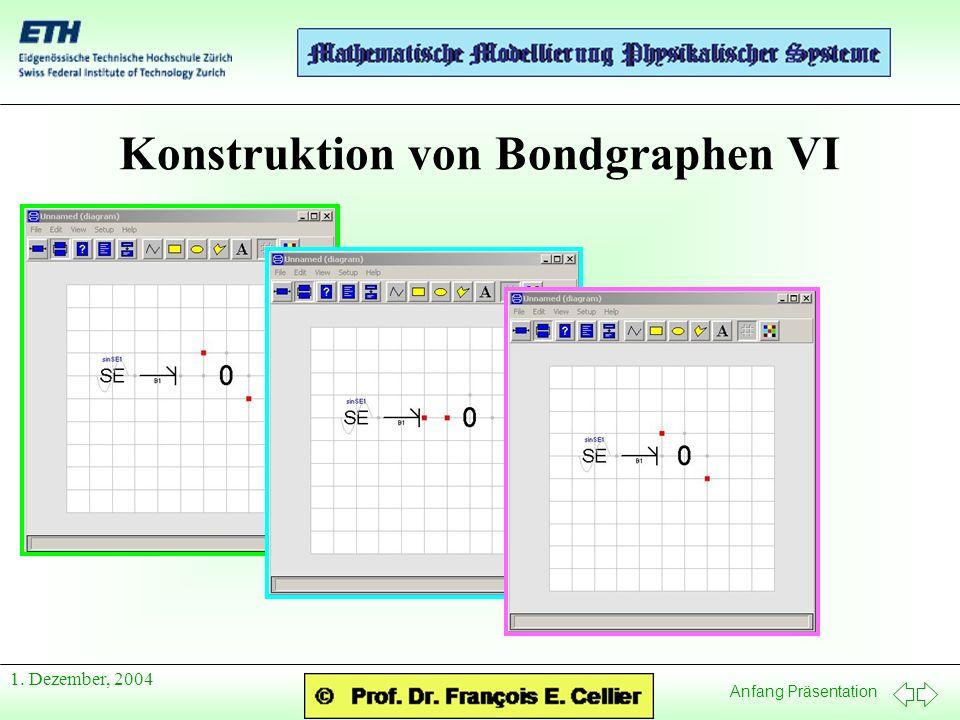 Anfang Präsentation 1. Dezember, 2004 Konstruktion von Bondgraphen VI