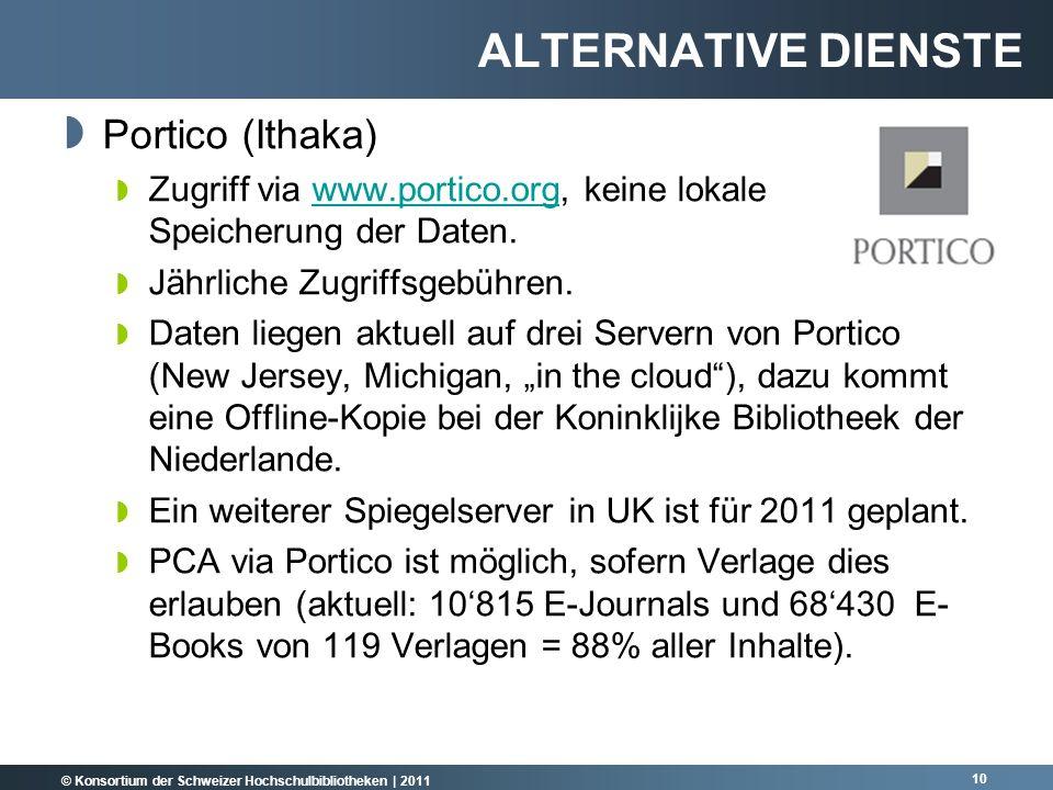 © Konsortium der Schweizer Hochschulbibliotheken | 2011 Portico (Ithaka) Zugriff via www.portico.org, keine lokale Speicherung der Daten.www.portico.org Jährliche Zugriffsgebühren.