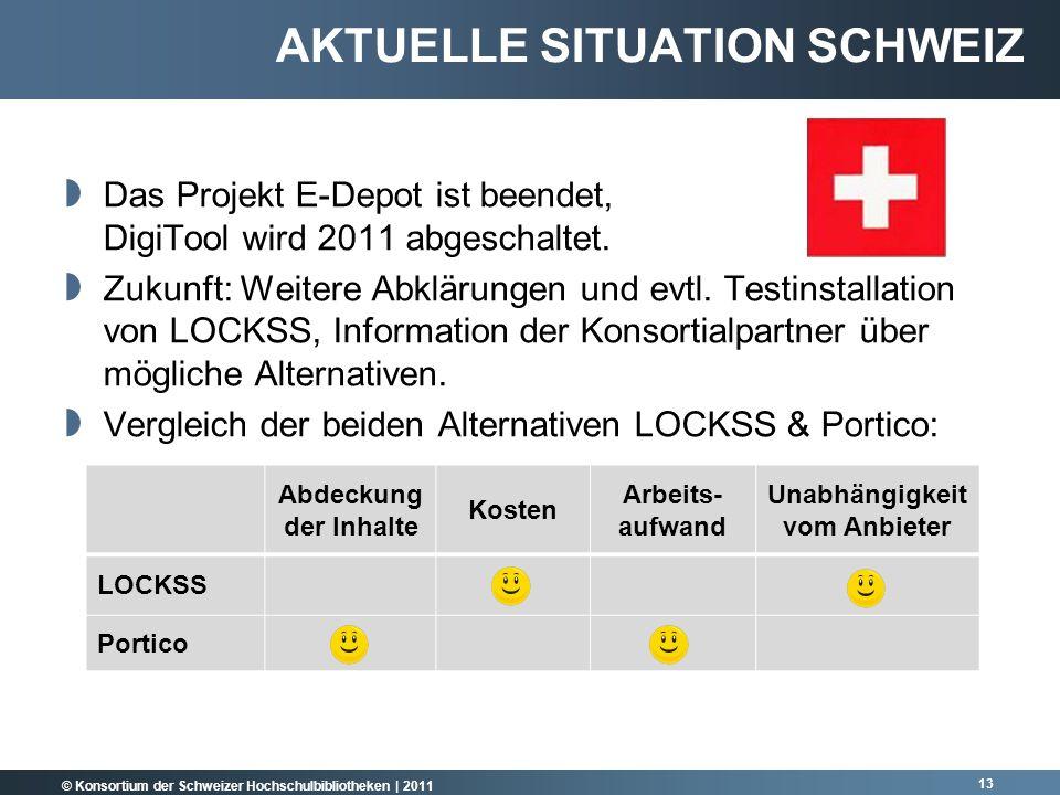 © Konsortium der Schweizer Hochschulbibliotheken | 2011 Das Projekt E-Depot ist beendet, DigiTool wird 2011 abgeschaltet.