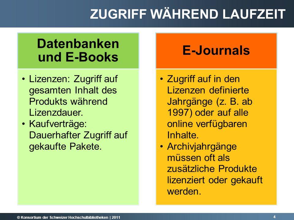 © Konsortium der Schweizer Hochschulbibliotheken | 2011 Datenbanken und E-Books Lizenzen: Zugriff auf gesamten Inhalt des Produkts während Lizenzdauer.