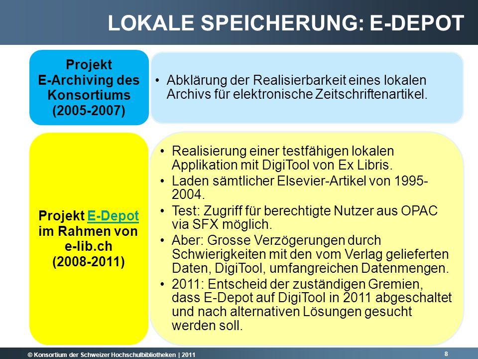 © Konsortium der Schweizer Hochschulbibliotheken | 2011 Abklärung der Realisierbarkeit eines lokalen Archivs für elektronische Zeitschriftenartikel.