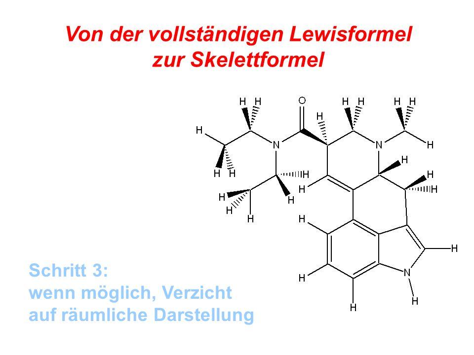 Von der vollständigen Lewisformel zur Skelettformel Voilà!