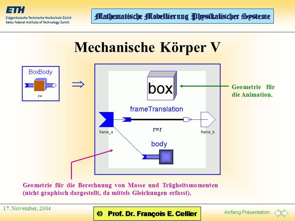 Anfang Präsentation 17. November, 2004 Mechanische Körper V Geometrie für die Animation.