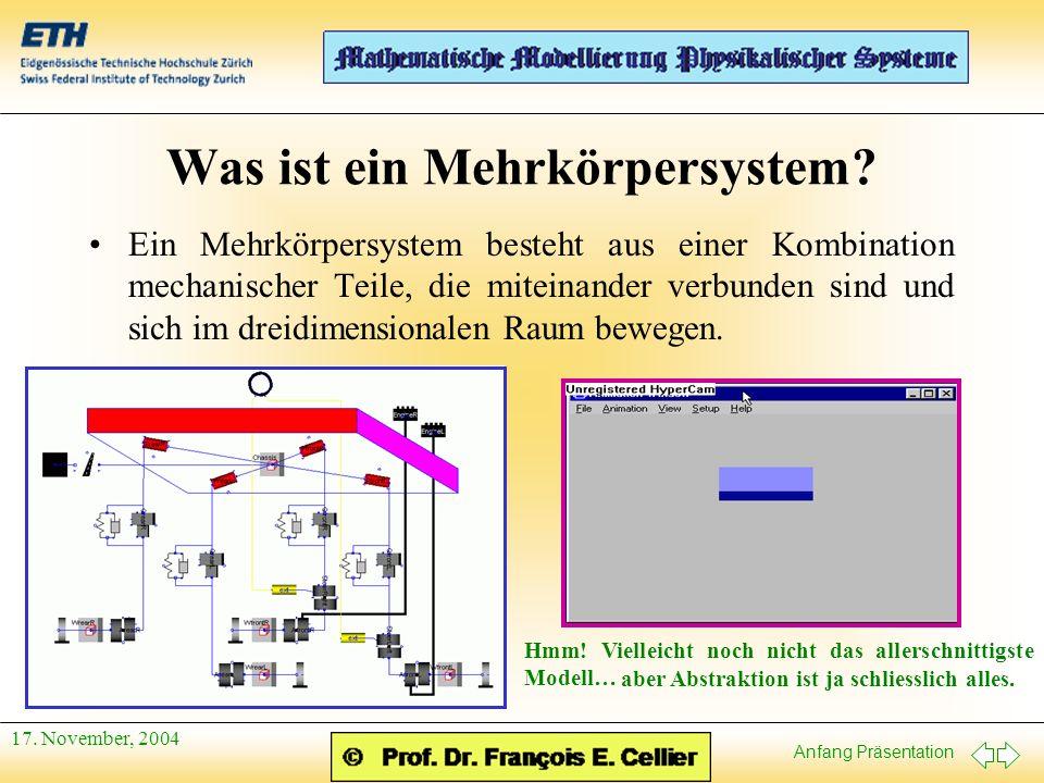 Anfang Präsentation 17.November, 2004 Mechanische Körper V Geometrie für die Animation.