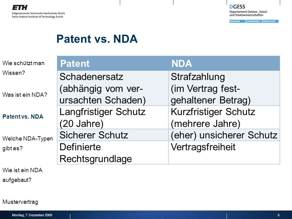 Patent vs. NDA PatentNDA Schadenersatz (abhängig vom ver- ursachten Schaden) Strafzahlung (im Vertrag fest- gehaltener Betrag) Langfristiger Schutz (2
