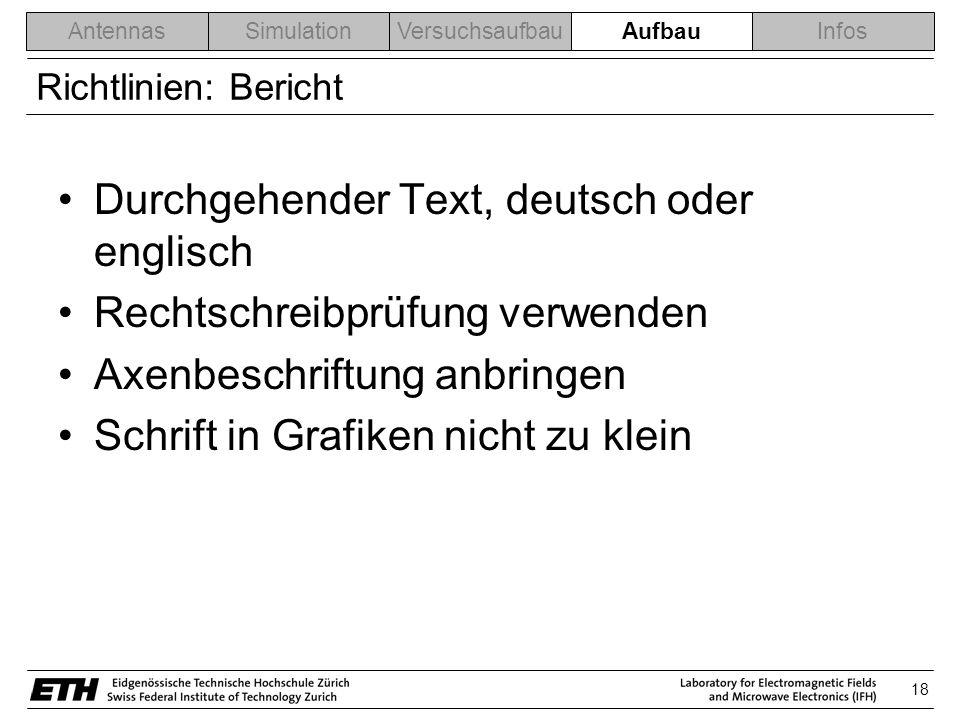 18 AntennasSimulationVersuchsaufbauAblaufInfos Richtlinien: Bericht Durchgehender Text, deutsch oder englisch Rechtschreibprüfung verwenden Axenbeschriftung anbringen Schrift in Grafiken nicht zu klein Aufbau