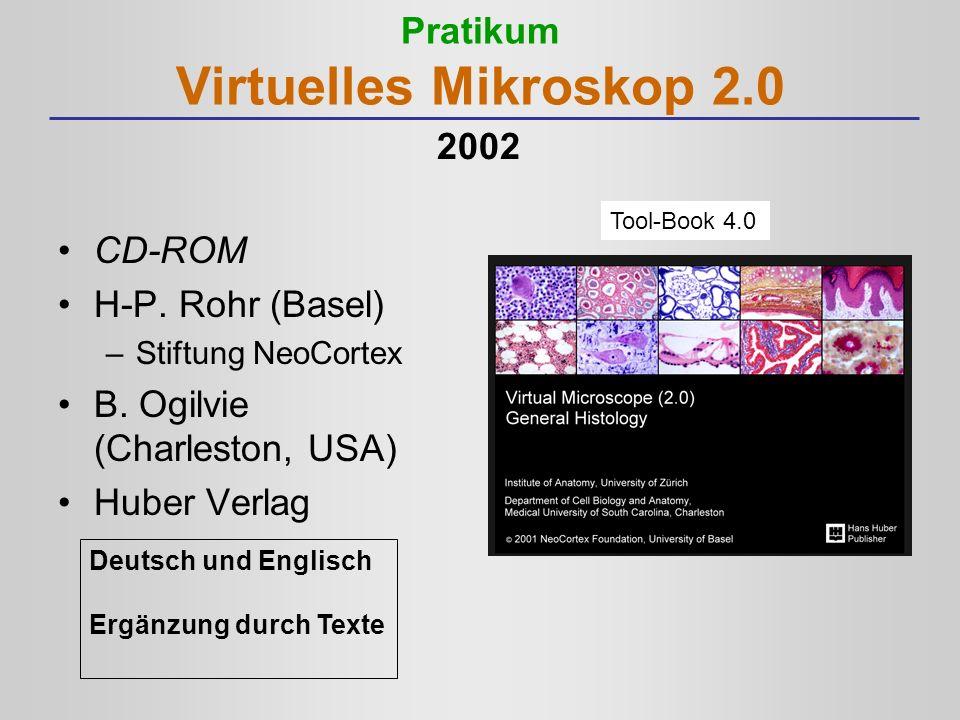 Pratikum Virtuelles Mikroskop 2.0 CD-ROM H-P. Rohr (Basel) –Stiftung NeoCortex B. Ogilvie (Charleston, USA) Huber Verlag Tool-Book 4.0 Deutsch und Eng