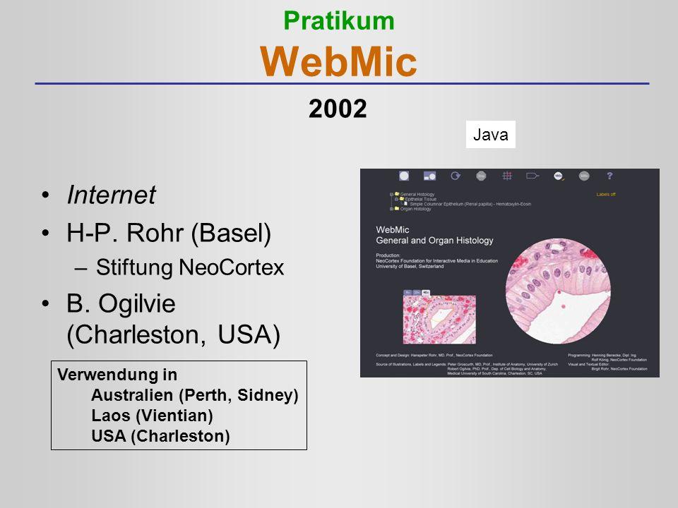 Pratikum WebMic Internet H-P. Rohr (Basel) –Stiftung NeoCortex B. Ogilvie (Charleston, USA) Java Verwendung in Australien (Perth, Sidney) Laos (Vienti