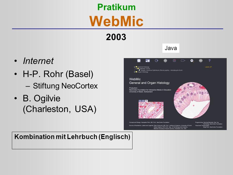 Pratikum WebMic Internet H-P. Rohr (Basel) –Stiftung NeoCortex B. Ogilvie (Charleston, USA) Kombination mit Lehrbuch (Englisch) Java 2003