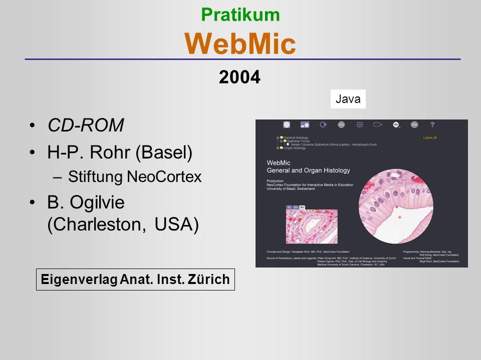 Pratikum WebMic CD-ROM H-P. Rohr (Basel) –Stiftung NeoCortex B. Ogilvie (Charleston, USA) Java Eigenverlag Anat. Inst. Zürich 2004