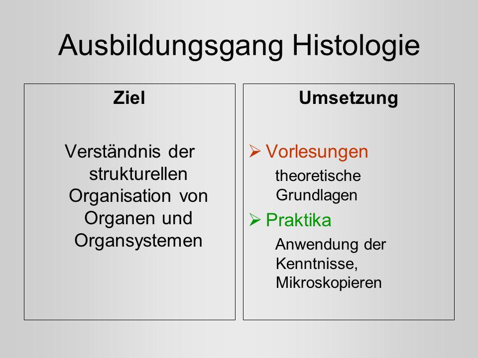 Ausbildungsgang Histologie Ziel Verständnis der strukturellen Organisation von Organen und Organsystemen Umsetzung Vorlesungen theoretische Grundlagen