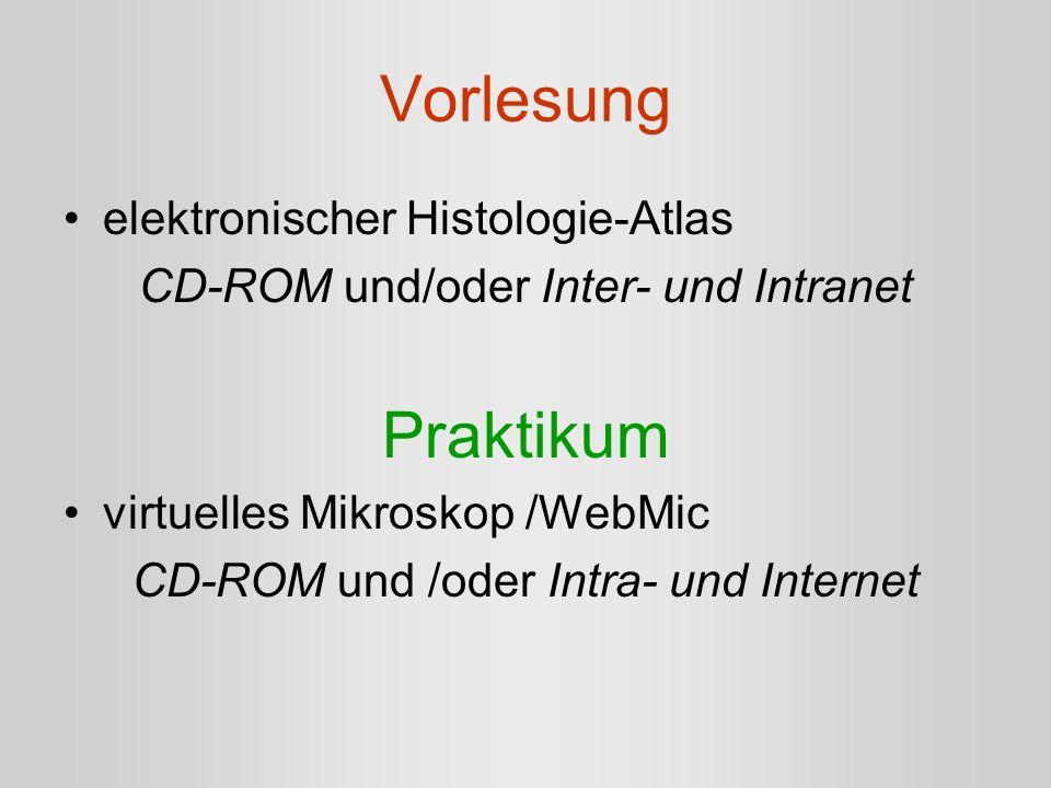 Vorlesung elektronischer Histologie-Atlas CD-ROM und/oder Inter- und Intranet Praktikum virtuelles Mikroskop /WebMic CD-ROM und /oder Intra- und Inter