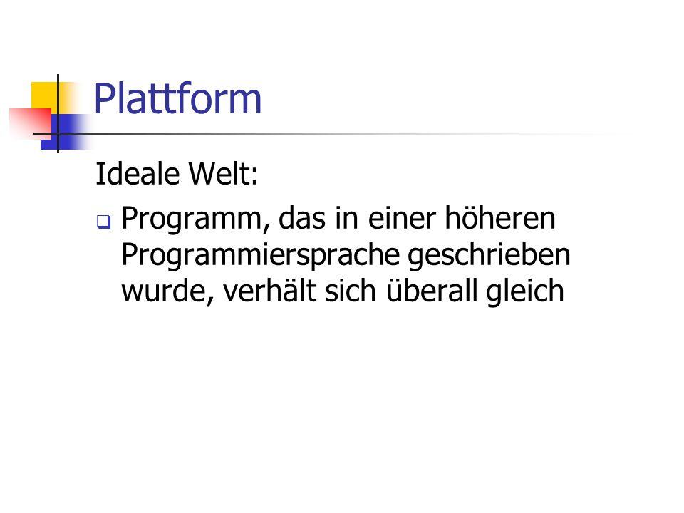Plattform Ideale Welt: Programm, das in einer höheren Programmiersprache geschrieben wurde, verhält sich überall gleich