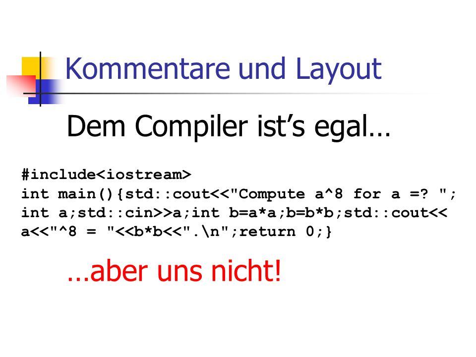 Kommentare und Layout Dem Compiler ists egal… …aber uns nicht.