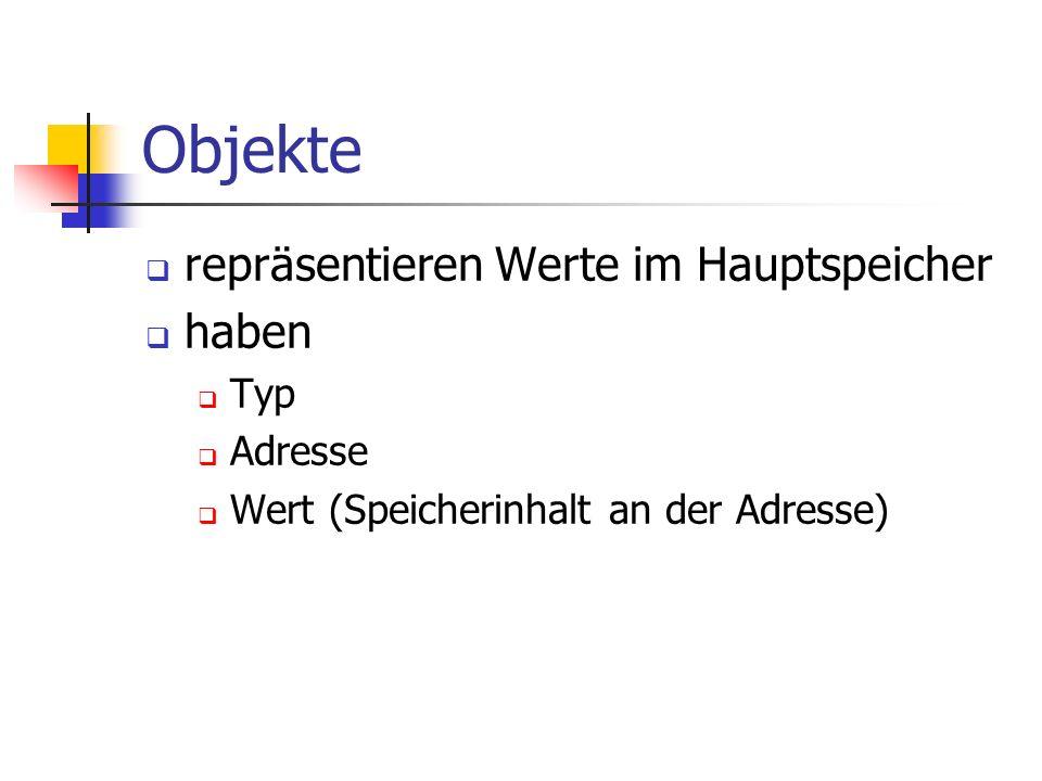 Objekte repräsentieren Werte im Hauptspeicher haben Typ Adresse Wert (Speicherinhalt an der Adresse)