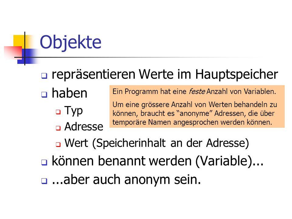 Objekte repräsentieren Werte im Hauptspeicher haben Typ Adresse Wert (Speicherinhalt an der Adresse) können benannt werden (Variable)......aber auch anonym sein.