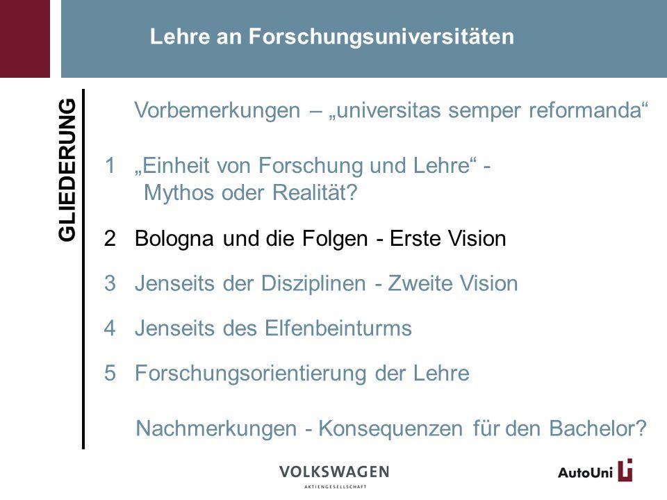 Lehre an Forschungsuniversitäten GLIEDERUNG Vorbemerkungen – universitas semper reformanda 1 Einheit von Forschung und Lehre - Mythos oder Realität.