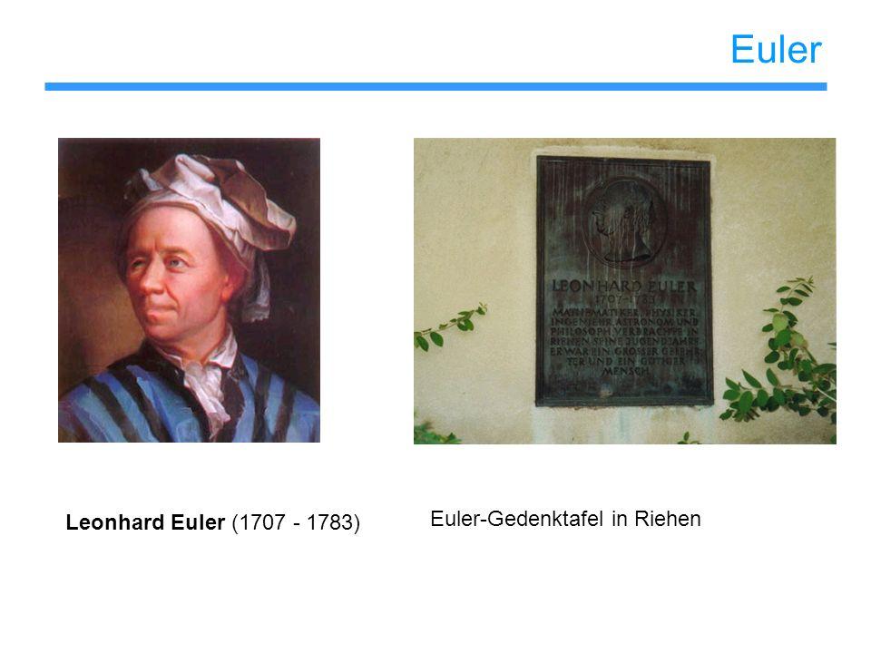 Euler Leonhard Euler (1707 - 1783) Euler-Gedenktafel in Riehen