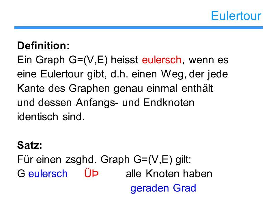 Eulertour Definition: Ein Graph G=(V,E) heisst eulersch, wenn es eine Eulertour gibt, d.h. einen Weg, der jede Kante des Graphen genau einmal enthält
