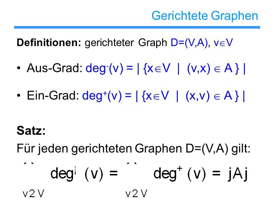 Gerichtete Graphen Definitionen: gerichteter Graph D=(V,A), v V Aus-Grad: deg - (v) = | {x V | (v,x) A } | Ein-Grad: deg + (v) = | {x V | (x,v) A } |