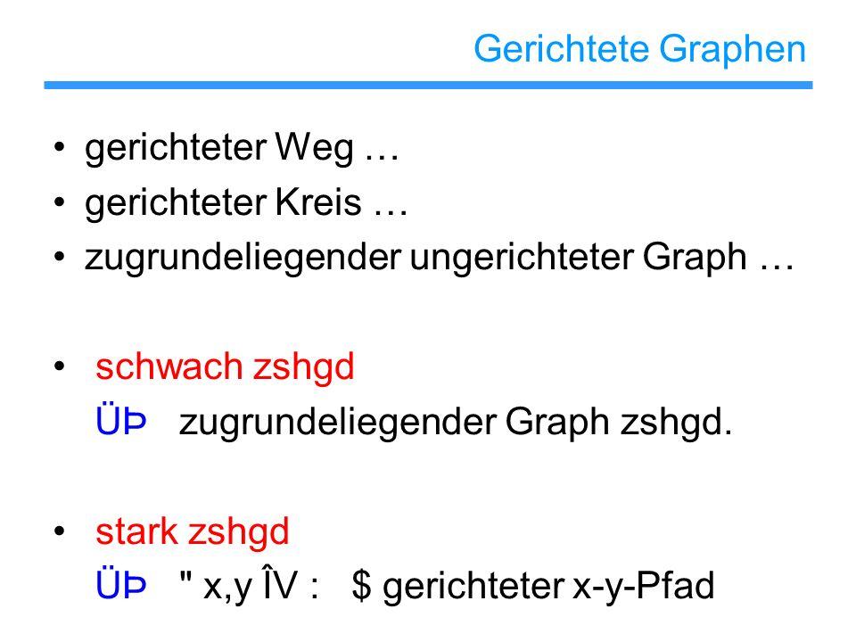 Gerichtete Graphen gerichteter Weg … gerichteter Kreis … zugrundeliegender ungerichteter Graph … schwach zshgd ÜÞ zugrundeliegender Graph zshgd. stark