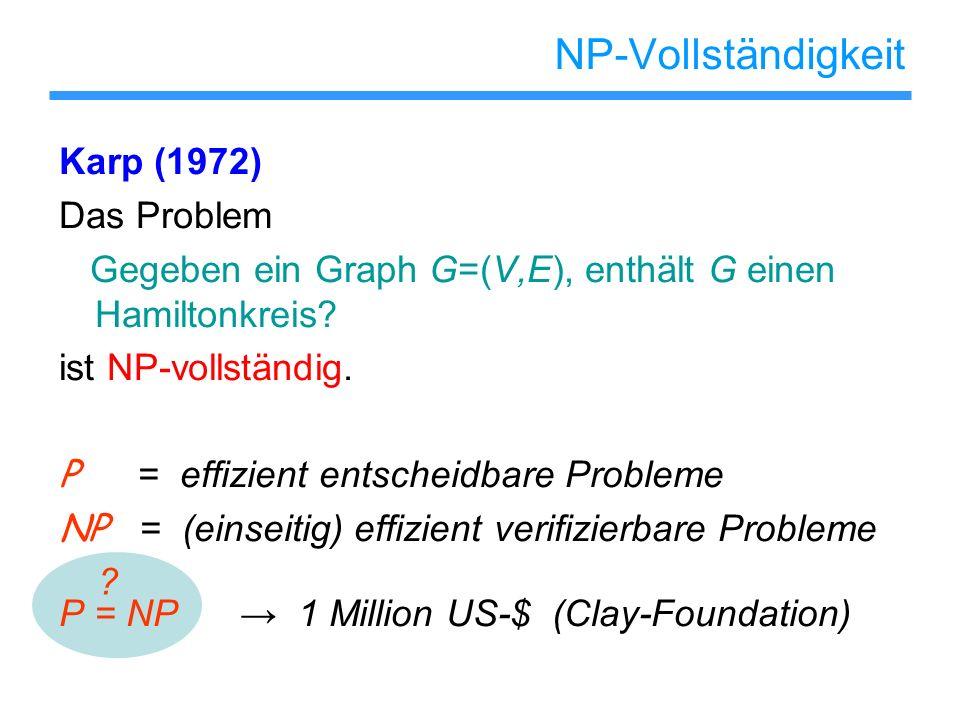 NP-Vollständigkeit Karp (1972) Das Problem Gegeben ein Graph G=(V,E), enthält G einen Hamiltonkreis? ist NP-vollständig. P = effizient entscheidbare P