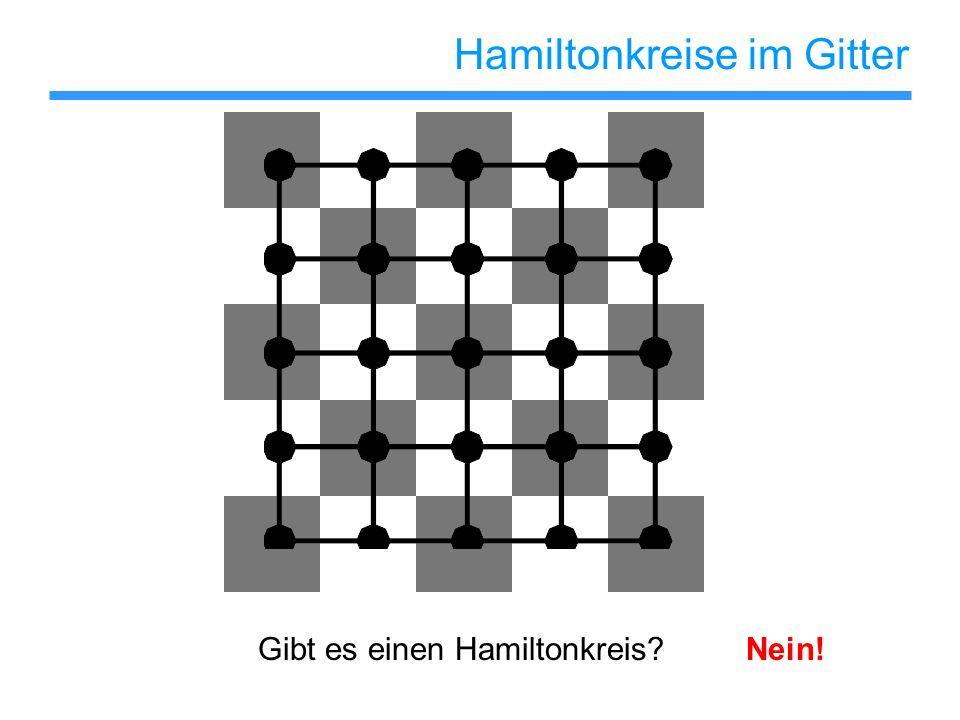 Hamiltonkreise im Gitter Satz: Ein n x m Gitter enthält genau dann einen Hamiltonkreis, wenn nm gerade ist.