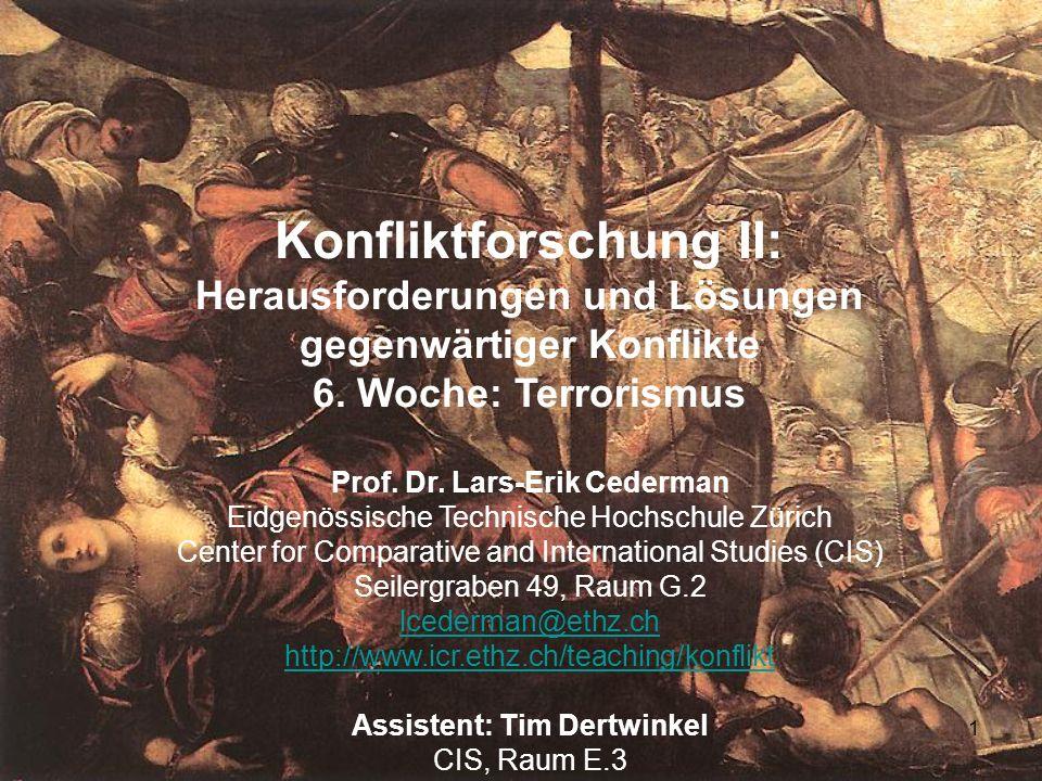 1 Konfliktforschung II: Herausforderungen und Lösungen gegenwärtiger Konflikte 6. Woche: Terrorismus Prof. Dr. Lars-Erik Cederman Eidgenössische Techn
