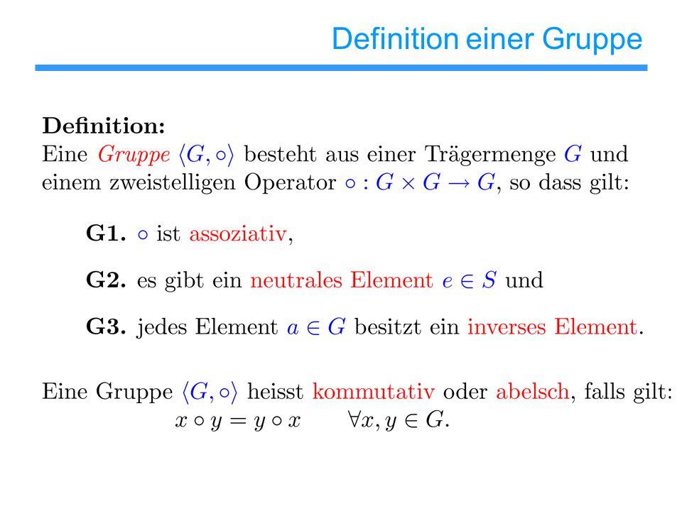 Definition einer Gruppe - Beispiele Beachte: Trägermenge G kann aus recht unterschiedlichen Objekten bestehen, z.B.