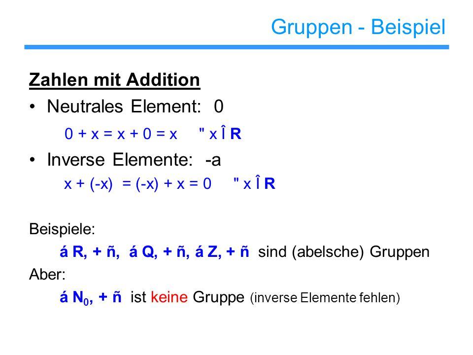Gruppen - Beispiel Zahlen mit Multiplikation Neutrales Element: 1 1 * x = x * 1 = x x Î R Inverse Elemente: x -1 x * x -1 = x -1 * x = 1 x Î R \ {0} Beispiele: á R \ {0}, * ñ, á Q \ {0}, * ñ sind (abelsche) Gruppen Aber: á R, * ñ ist keine Gruppe (Null hat kein Inverses), á Z \ {0}, * ñ ist keine Gruppe (inverse Elemente fehlen),
