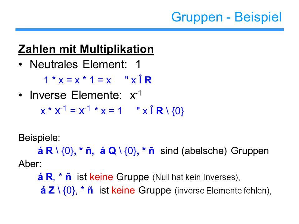 Gruppen - Beispiel Matrizen mit Multiplikation Neutrales Element: Identitätsmatrix I * A = A * I = A n ´ n Matrizen A Inverse Elemente: A -1 A * A -1 = A -1 * A = I invertierbaren Matrizen A Beispiel: R n := Menge aller invertierbaren n ´ n Matrizen á R n, * ñ ist eine Gruppe (die nicht abelsch ist)