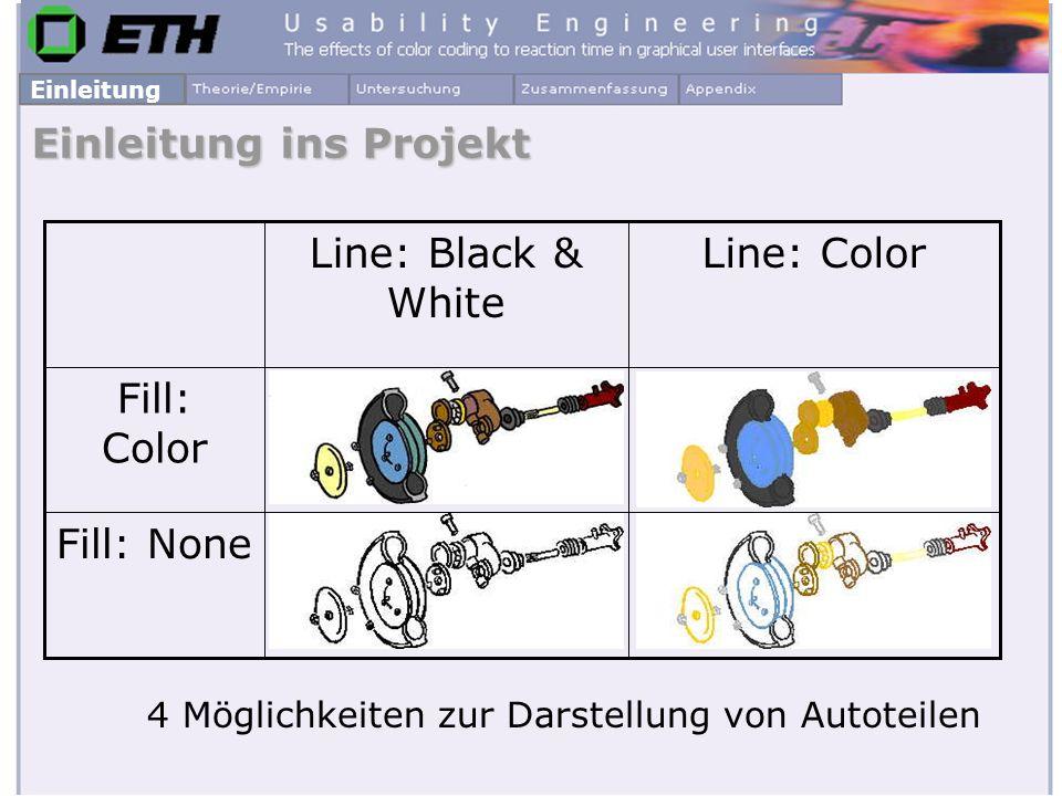 Einleitung ins Projekt 4 Möglichkeiten zur Darstellung von Autoteilen Fill: None Fill: Color Line: ColorLine: Black & White Einleitung