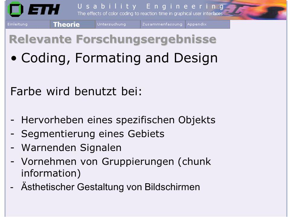 Coding, Formating and Design Farbe wird benutzt bei: -Hervorheben eines spezifischen Objekts -Segmentierung eines Gebiets -Warnenden Signalen -Vornehm