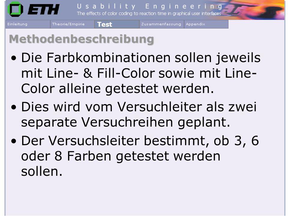 Methodenbeschreibung Die Farbkombinationen sollen jeweils mit Line- & Fill-Color sowie mit Line- Color alleine getestet werden. Dies wird vom Versuchl