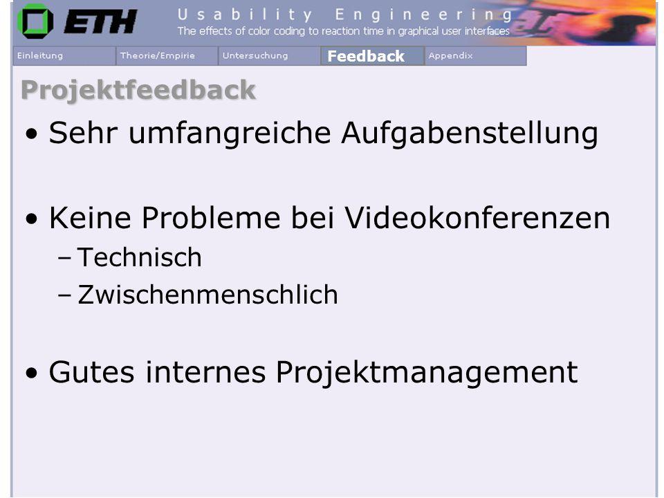 Projektfeedback Sehr umfangreiche Aufgabenstellung Keine Probleme bei Videokonferenzen –Technisch –Zwischenmenschlich Gutes internes Projektmanagement