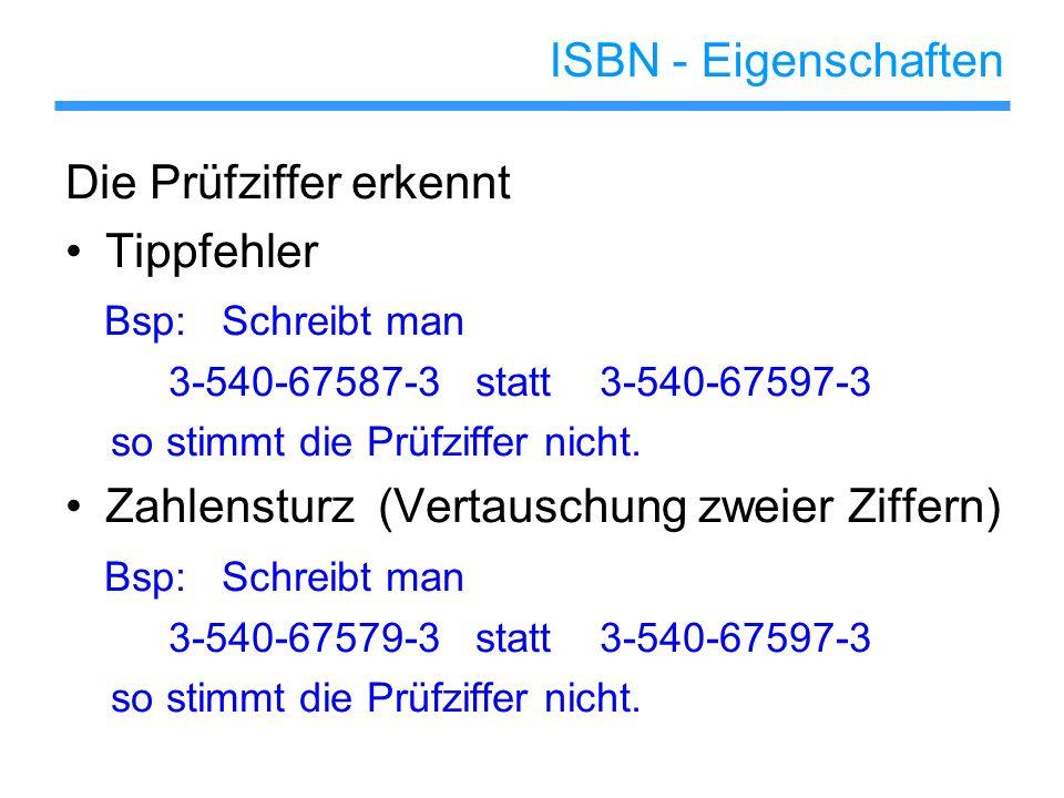 ISBN - Eigenschaften Die Prüfziffer erkennt Tippfehler Bsp: Schreibt man 3-540-67587-3 statt 3-540-67597-3 so stimmt die Prüfziffer nicht. Zahlensturz