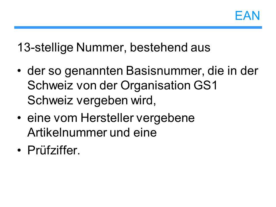 EAN 13-stellige Nummer, bestehend aus der so genannten Basisnummer, die in der Schweiz von der Organisation GS1 Schweiz vergeben wird, eine vom Herste