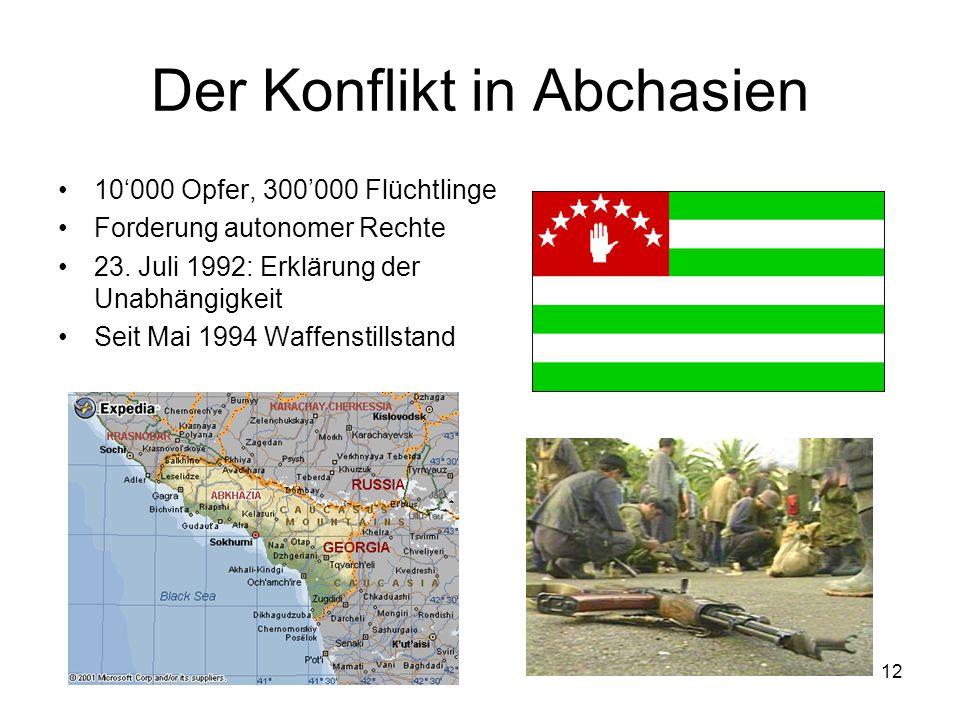 12 Der Konflikt in Abchasien 10000 Opfer, 300000 Flüchtlinge Forderung autonomer Rechte 23. Juli 1992: Erklärung der Unabhängigkeit Seit Mai 1994 Waff