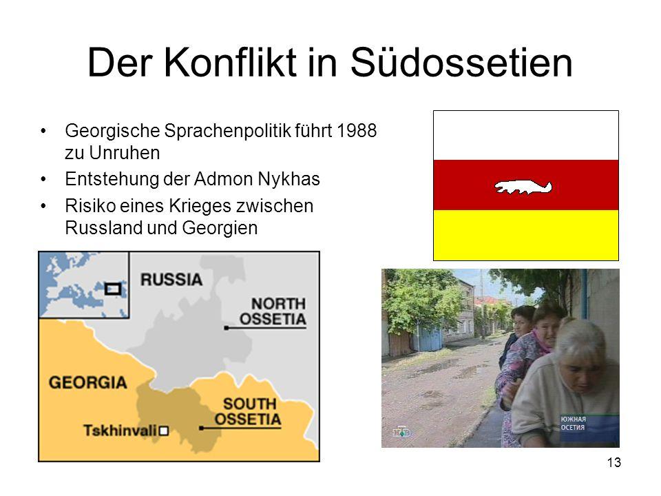 13 Der Konflikt in Südossetien Georgische Sprachenpolitik führt 1988 zu Unruhen Entstehung der Admon Nykhas Risiko eines Krieges zwischen Russland und