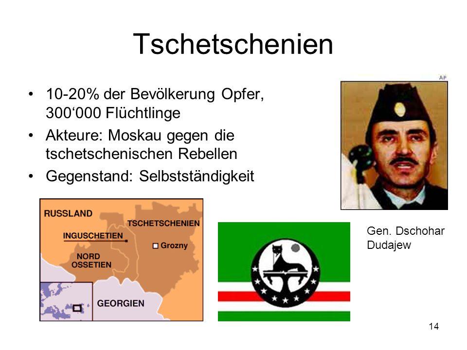 14 Tschetschenien 10-20% der Bevölkerung Opfer, 300000 Flüchtlinge Akteure: Moskau gegen die tschetschenischen Rebellen Gegenstand: Selbstständigkeit