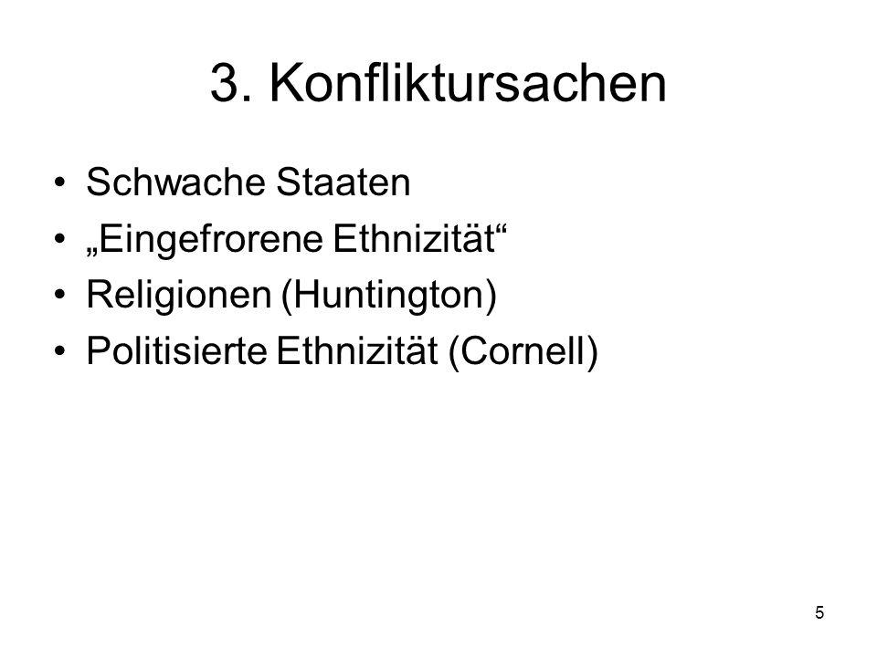 5 3. Konfliktursachen Schwache Staaten Eingefrorene Ethnizität Religionen (Huntington) Politisierte Ethnizität (Cornell)
